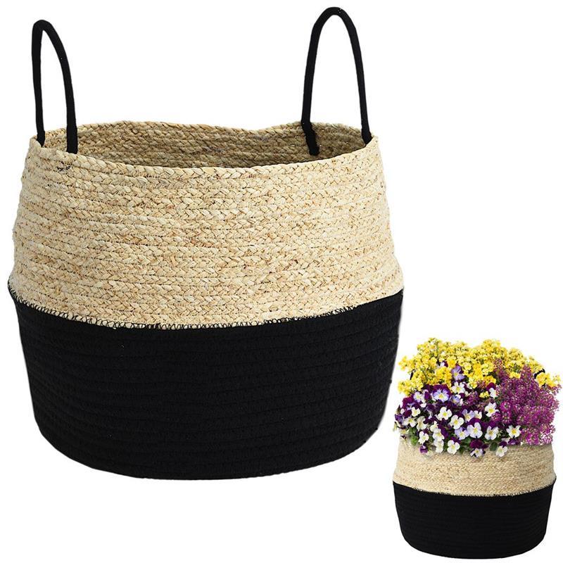 Protector, ghiveci, coș boho, negru, țesut, pentru ghiveci, flori, plante, 40x32 cm
