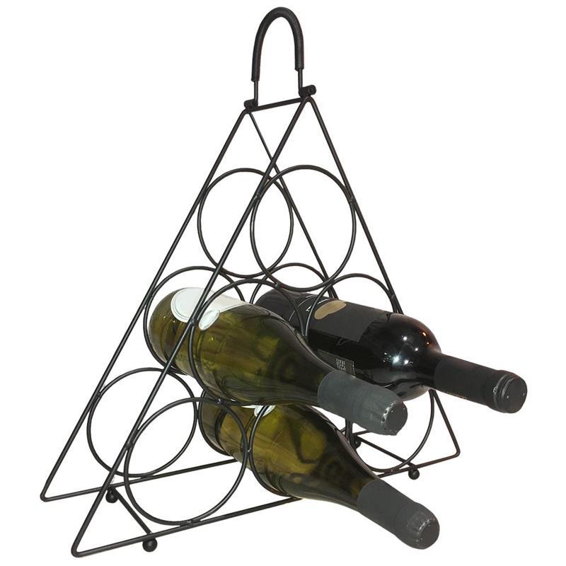 Raft metalic, negru, pentru vin, raft, dulap, raft pentru sticle de vin - 6 sticle