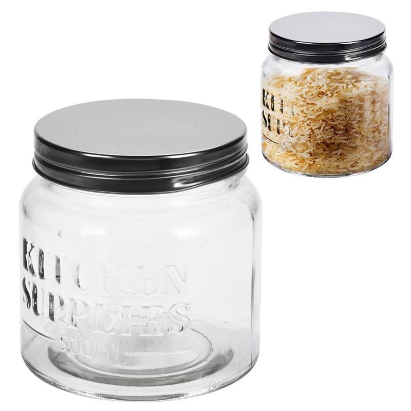 Recipient din sticlă, borcan, 0,5 l, pentru paste, cereale, cafea, dulciuri, produse vrac