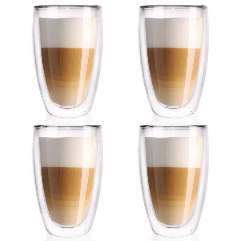 4x Pahar termic de cafea cu perete dublu cu perete dublu pentru cafea cu lapte, 450 ml