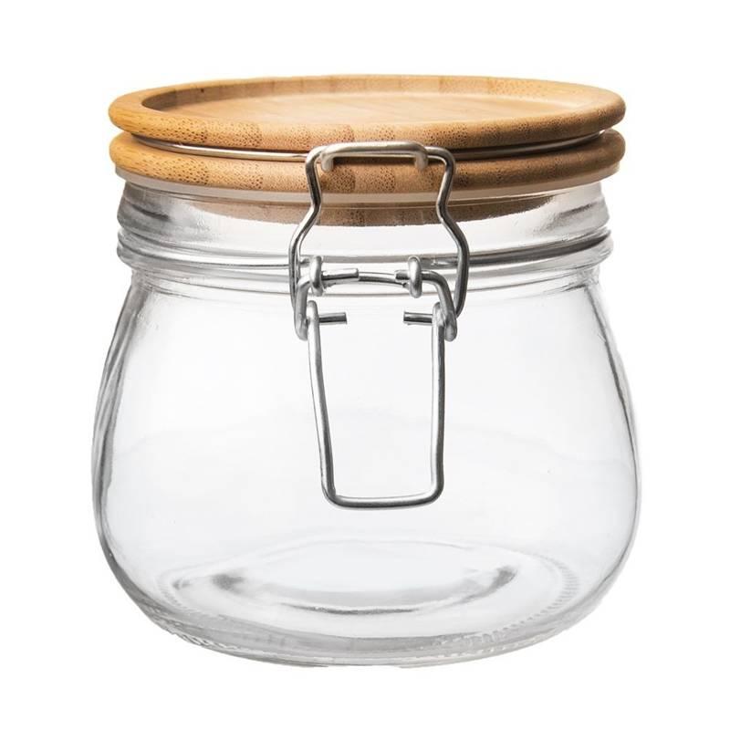 Borcan, recipient din sticlă cu clemă, 0,5 l, capac din bambus
