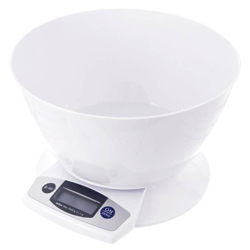 Cântar de bucătărie, alb, electronic, 5 kg, cu bol, 2,5 l