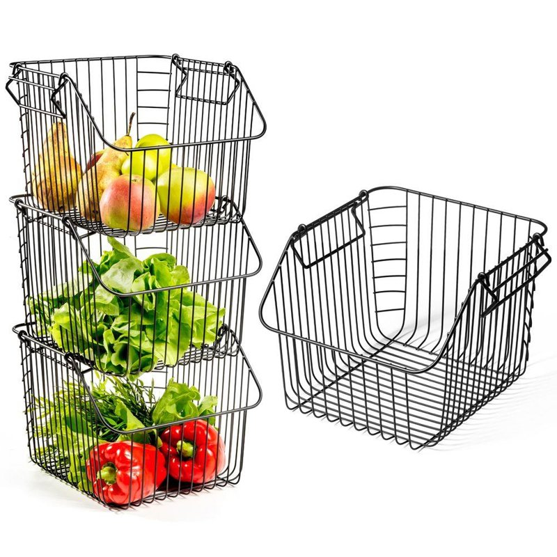 Coș pentru fructe și legume, metal, negru, stivuire 29x27x21 cm, 1 buc.