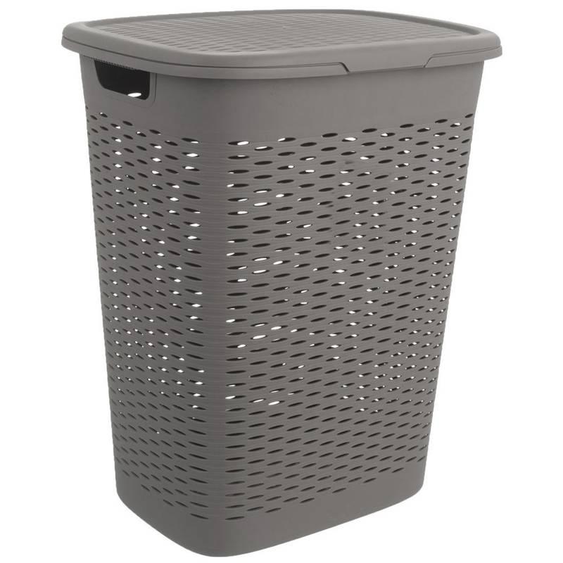 Coș, recipient de baie pentru rufe, haine, lenjerie de corp, cu capac, 47 l, gri