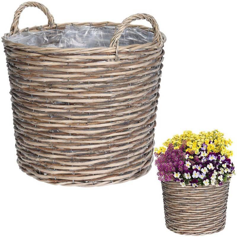 Ghiveci de flori, capac de protecție din răchită, coș, coș cu suporturi pentru flori, plante, 44x37 cm