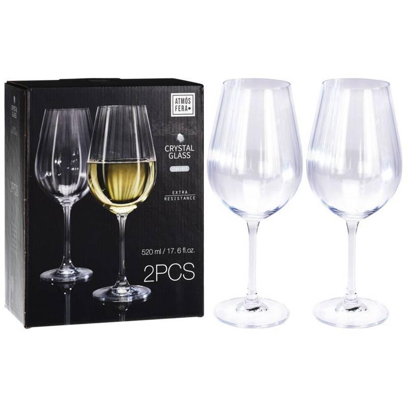 Pahar de cristal pentru vin alb, apă, 520 ml, 2 buc, set, set de pahare