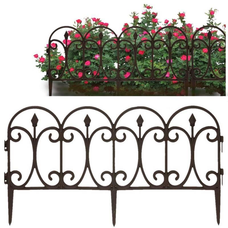 Palisadă, gard de grădină, maro, 60x32 cm, bordură